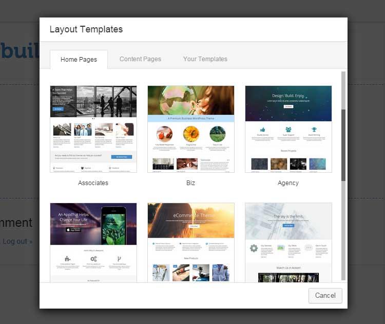 escolher tema para criação de página no wordpress