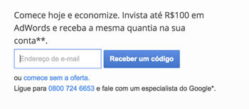 Ganhe um Cupom de R$ 100 para anunciar no Google Adwords (GRÁTIS)